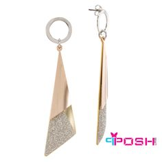 Jem - Earrings - Tri coloured metal swing earrings - Silver, rose gold and yellow gold toned - Embellished with silver glitter - Dimension: length, width POSH by FERI - Passion for Fashion - Luxury fashion jewelry for the designer in you. Fashion Earrings, Fashion Jewelry, Jewellery Earrings, Monogram Earrings, High Quality Costumes, Silver Glitter, Passion For Fashion, Costume Jewelry, Wealth