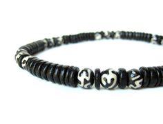 """Simple black """"Om"""" necklace for men.  (Om beads are batik-dyed bone!)"""
