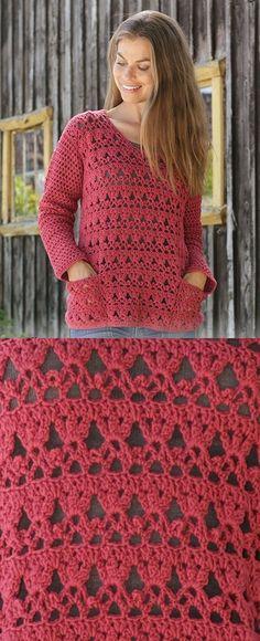 Free crochet pattern for a ladies sweater. Crochet sweater pattern worked with lace pattern, fans and pockets. by corinne Free crochet pattern for a ladies sweater. Crochet sweater pattern worked with lace pattern, fans and pockets. Blouse Au Crochet, Gilet Crochet, Black Crochet Dress, Crochet Cardigan, Knit Crochet, Crochet Stitches, Tunisian Crochet, Crochet Tops, Dress Lace
