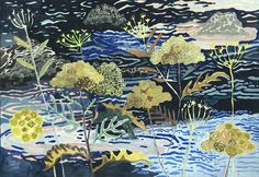 """Coastal Angelica Watercolor and gouache on paper 10"""" x 7"""""""