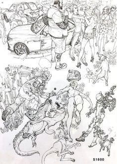 Kim Jung Gi ↩☾それはすぐに私は行くべきである。 ∑(O_O;) ☕ upload is galaxy with… Comic Manga, Comic Art, Junggi Kim, Drawing Sketches, Drawings, Drawing Guide, Figure Sketching, Kim Jung, Line Art