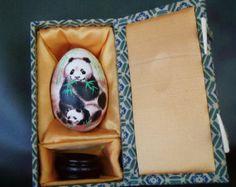Hand Painted Panda Mom with Baby Panda on Goose Egg Shell, Egg Shell Art, Egg Art