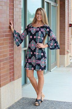 Razzle-N-Dazzle Aztec *LONG* Tunic/Dress - BLACK, $38.00