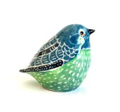 SALE clay bird sculpture blue green