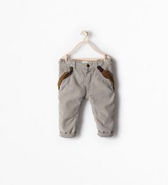 Image 1 of LINED CORDUROY TROUSERS WITH SUSPENDERS from Zara