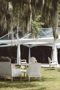 Louis Lounge + Clear Top Tent | Vintage Southern Wedding at Magnolia Plantation Carriage House by Charleston Wedding Planner ELM Events