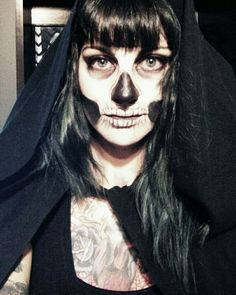 My skull makeup from last year's Halloween Grim Reaper costume with DIY Reaper robe.  #daynadagger