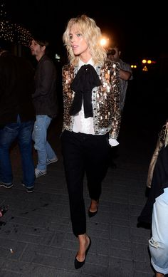 la modella mafia Anja Rubik red carpet chic in a Saint Laurent gold sequin jacket, black trousers and pumps 2