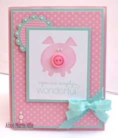 Button Buddies Piggy so cute with the pearl embellishment