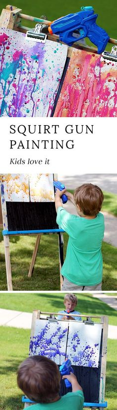 Bust summer boredom at home, school, or camp with Squirt Gun Painting, a fun watercolor art experience for kids of all ages.