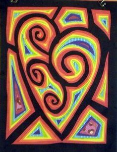Heart Mola :)   Kuna Indian inspired, San Blas Islands