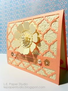 L.E. Paper Studio: 100 Cart Blog Hop - July. Card made using Cricut Craft Room, free cut files. Thank You card and Elegant Card.