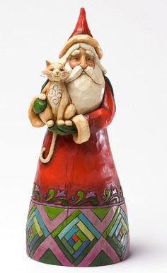 Christmas Spirit - Furever In Our Hearts--Classic Santa with Cat - Tribute Santas are updated and re-stylized versions of some of the most popular and emblematic pieces from the 10 year history of the line. This Santa is a proven success with cat lovers.