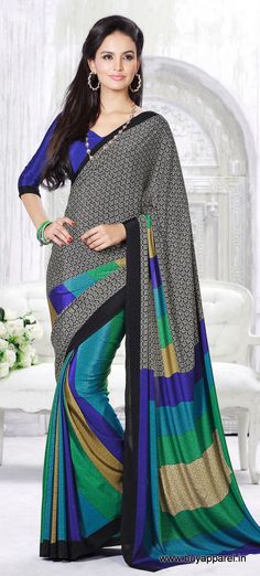 Designer Casual Blue+Black Color Crepe Printed Saree at $20.77  only visit at http://buyapparel.in/index.php/designer-casual-blue-black-color-crepe-printed-saree.html
