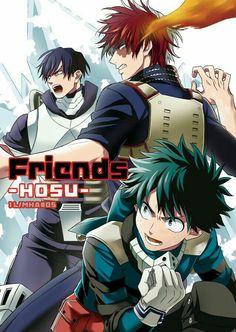 Friends, text, Izuku, Shouto, Tenya, heroes, suits, uniforms, outfits, cool; My Hero Academia