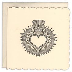 Hand Printed Mexican style Valentines Card with envelope by DBIllustrations