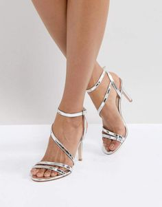 f81c4725b25 Faith Delly Silver Heeled Sandals Heeled Sandals