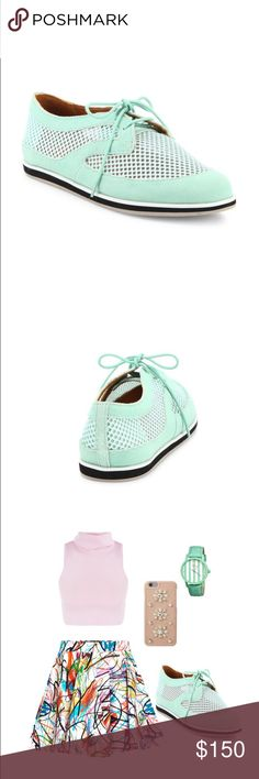 Rebecca Minkoff Sylvie suede & mesh oxfords These gorgeous mint green oxfords feature suede and mesh uppers, lace up front, leather lining, rubber sole, and padded insole!  05311116   BNIB Rebecca Minkoff Shoes Flats & Loafers