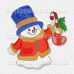 Snowman Design #: 9804524 - Free Embroidery Designs, Cute Embroidery Designs