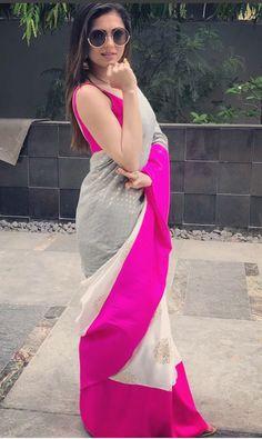 Image may contain: 1 person, standing and outdoor Simple Sarees, Trendy Sarees, Fancy Sarees, Saree Draping Styles, Saree Styles, Pakistani Outfits, Indian Outfits, Drashti Dhami, Sari Design