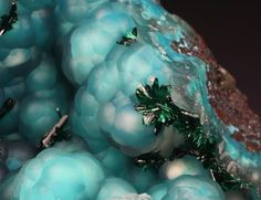 Chalcedony on Chrysocolla with Brochantite - Los Azules mine, Quebrada San Miguel, Copiapo Province, Atacama Region, Chile