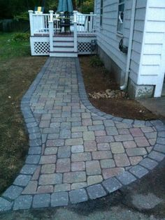 Unilock Camelot pavers in Coffee Creek with Granite border. Concrete Pathway, Paver Walkway, Brick Pavers, Paver Patterns, Outdoor Living, Outdoor Decor, Outdoor Ideas, House Landscape, Country Chic