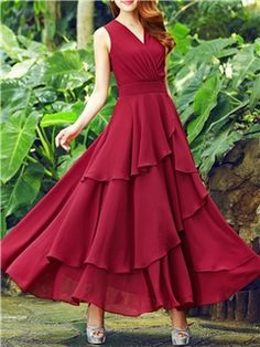 Ericdress Solid Color Layered Expansion Maxi Dress Maxi Dresses - Ericdress Solid Color Layered Expansion Maxi Dress Maxi Dresses Best Picture For cute outfits For - Cheap Dresses Online, Cheap Maxi Dresses, Indian Gowns Dresses, Cute Dresses, Beautiful Dresses, Vintage Dresses, Dresses Dresses, Frock For Women, White Dresses For Women