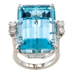 1950s Aquamarine Diamond Gold Ring | From a unique collection of vintage cocktail rings at https://www.1stdibs.com/jewelry/rings/cocktail-rings/