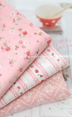 Sweet pink prints ~ Beautiful ~ Oh, the pillows I would love to make with these. <3 <3 <3