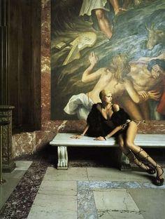 Title: Iron butterflies Magazine: Vogue Italia June 2004 Models: Jessica Stam, Karen Elson, Elise Crombez, Dovile Virsilaite Photographer: Steven Meisel