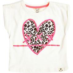 River Island Mini Girls White Leopard Heart Print T-Shirt from River Island's new children's line.