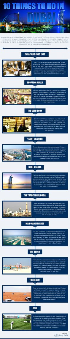 Infographics on 10 things to do in Dubai