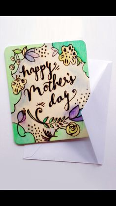 Wood Burned Card for Mothers Day