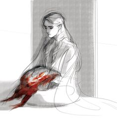 Fingon receiving Fingolfin's banner after his battle with Melkor. This is terrible, I can't see the picture through tears!