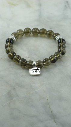 Root Chakra Mala Bracelet - Smokey Quartz - Sterling Silver Charm -  21 Bead Wrist Mala - Buddhist Prayer Beads - Muladhara  First Chakra $45