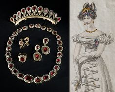 A Parure made of gold with oriental pearls and garnets, early 1800s and a fashion plate with a similar set with a tiara, 1824.