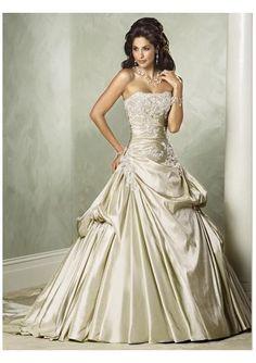 High glitz champagne wedding dress.