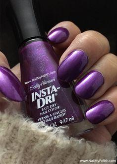 Dry Nails Fast, Purple Nail Polish, Sally Hansen, Beauty Nails, Nail Colors, Swatch, Nail Art, Check, Nail Polish