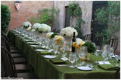 Italian themed long banquet table.    Sonoma - Napa Winery Weddings.  Fleurs de France  www.fleursfrance.com