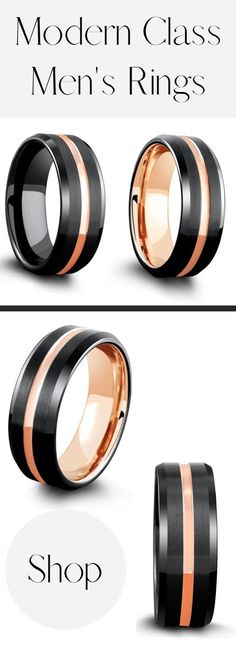 A collection of men's wedding rings. Designed with both a modern and classy appeal. Modern black and rose gold. These mens wedding bands are crafted out of tungsten carbide. Super durable and super comfy. #mensweddingrings #mensweddingbands