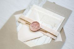 Oh So Beautiful Paper: Lauren + Jeff's Lace and Kraft Paper Wedding Invitations
