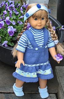 """Knitting pattern fits 17""""-18"""" dolls like American Girl doll and Baby Born"""