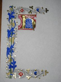 initial H (from deviantART: More Like Hey You by Pink Floyd Page 1 by Medieval Manuscript, Medieval Art, Medieval Fantasy, Calligraphy Borders, Calligraphy Alphabet, Illuminated Letters, Illuminated Manuscript, Illumination Art, Book Of Hours