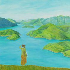 Across the Sound 76 x 76 cm #fiords #fiordland #newzealand #marlboroughsound #queencharlottesound #contemporary #landscape #paintings #art #womanwithview #vista #bellavista