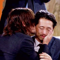 """wouldnormanreedus: """"redstreakn: """" """" kevinkeller: """" Steven Yeun and Norman Reedus after the Glenn Rhee video montage. """" Such a sweet friendship ♡ """" this makes me sadder than the. Walking Dead Memes, Fear The Walking Dead, Talking To The Dead, Glenn Y Maggie, The Glenn, Steven Yuen, The Walk Dead, Glenn Rhee, Carl Grimes"""