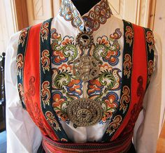 Traditional dress Norwegian Clothing, Norwegian Fashion, Traditional Fashion, Traditional Dresses, Folk Costume, Costumes, Scandinavian Embroidery, Nordic Vikings, Dress Neck Designs