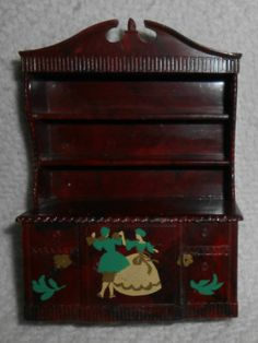Vintage Renwal Dollhouse Miniature Cinderella Fixed Door China Cabinet