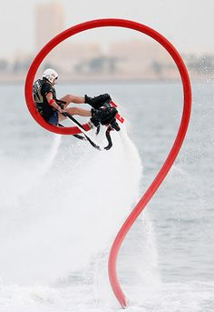 Doha, Qatar: Brody Wells, of Canada, takes part in the flyboard world championship