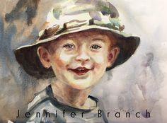 Boy in Hat Portrait Watercolor Painting tutorial by Jennifer Branch