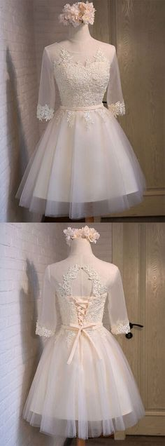 Glamorous A-line Scoop Short/Mini Ivory Organza Half Sleeves Homecoming Dress With Appliques glamorous bridesmaid dress, A-line evening dress, scoop neck homecoming dress, short homecoming dress, mini bridesmaid dress, ivory homecoming dress, organza bridesmaid dress, half sleeves party dress, homecoming dress with appliques, 2016 homecoming dress, #2016 #short #ivory #homecoming